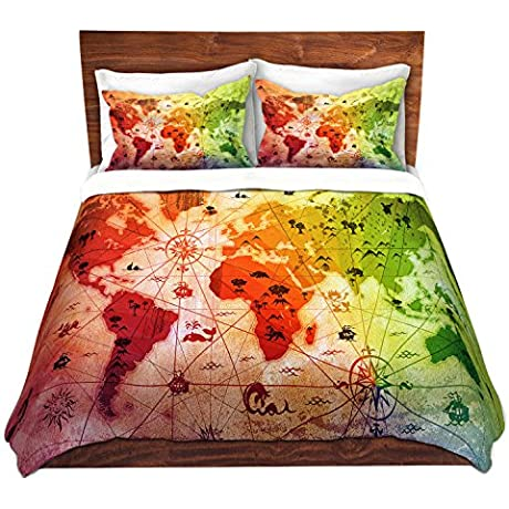 DiaNoche Designs Angelina Vick Whimsical World Map VII Brushed Twill Home Decor Bedding Cover 8 King Duvet Sham Set