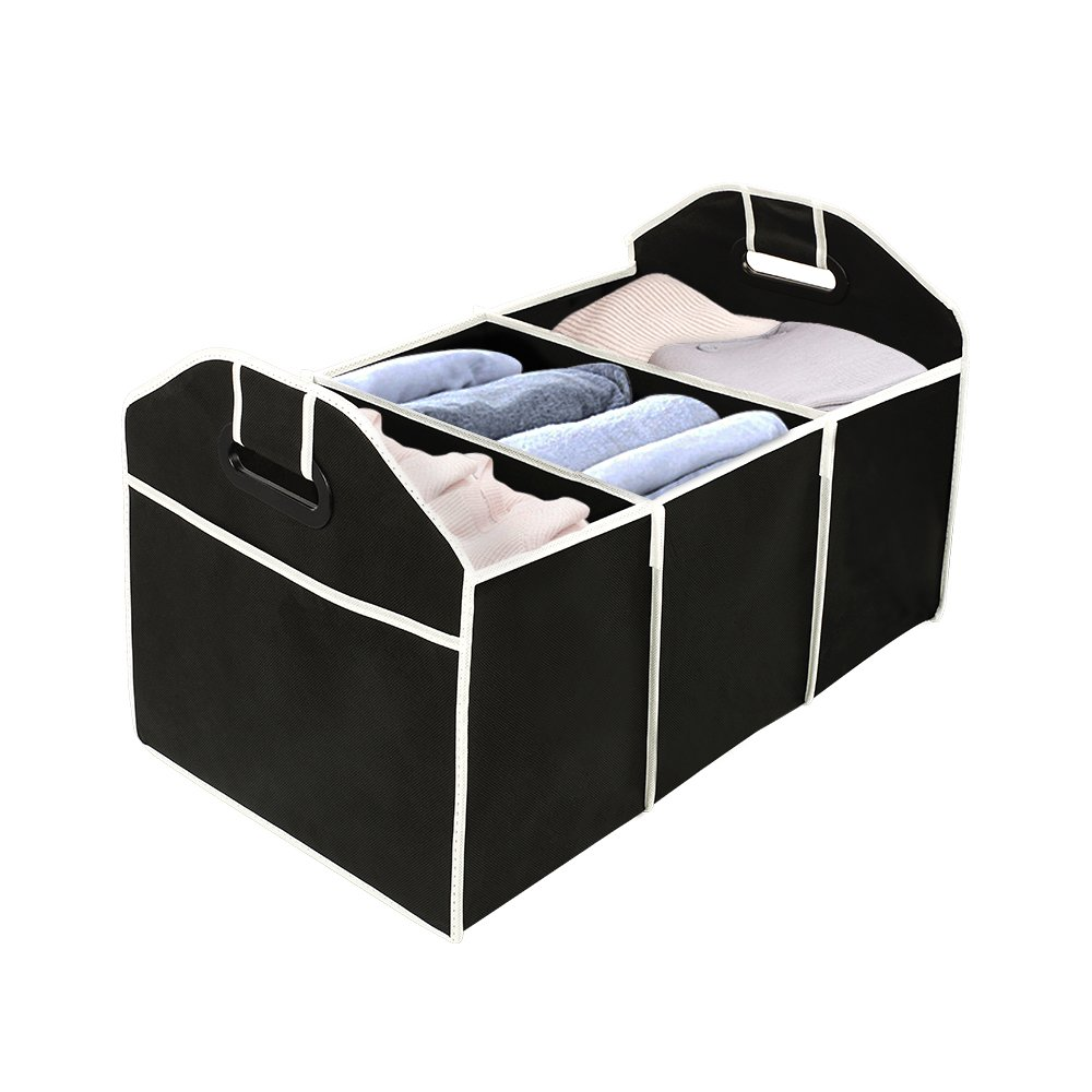 Orford Storage Trunk Basket Organizer Portable Multi 7 Compartments, Home Kitchen Office Car Foldable Storage Container, 20.5 x 12.4 x 12.6 inches Black