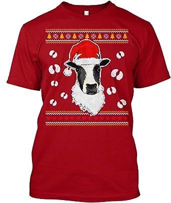 Amazoncom Santa Cow Ugly Christmas Sweater Xl Deep Red Tshirt