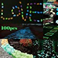 LFBEST Glowing Garden Pebbles, Glow in the Dark Pebbles Decorative Stones For Bicycle Pathway Walkways & Decor, Solar Power Luminous Stones Glowing Rocks for Plants Pot, Fish Tank