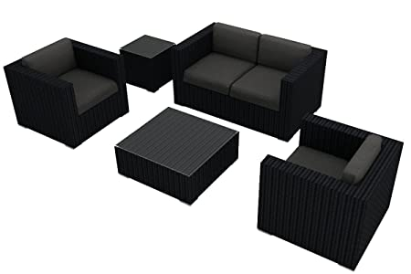 Harmonia Living Urbana 4 Piece Wicker Patio Sofa Set with Gray Sunbrella Cushions SKU HL-URBN-4SS-CC