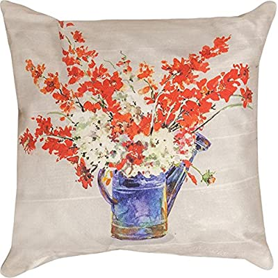 Manual Woodworkers Americana Watering Can Floral 18 x 18 Indoor Outdoor Throw Pillow - Beautiful florals in a watercan design with an Americana feel is perfect for year round display and use; Canvas Climaweave material is durable and weather resistant Made of polyester canvas-like material; Spot clean with damp cloth and air dry, do not machine wash Measures approximately 18 x 18 inches - patio, outdoor-throw-pillows, outdoor-decor - 6117ExoHtyL. SS400  -