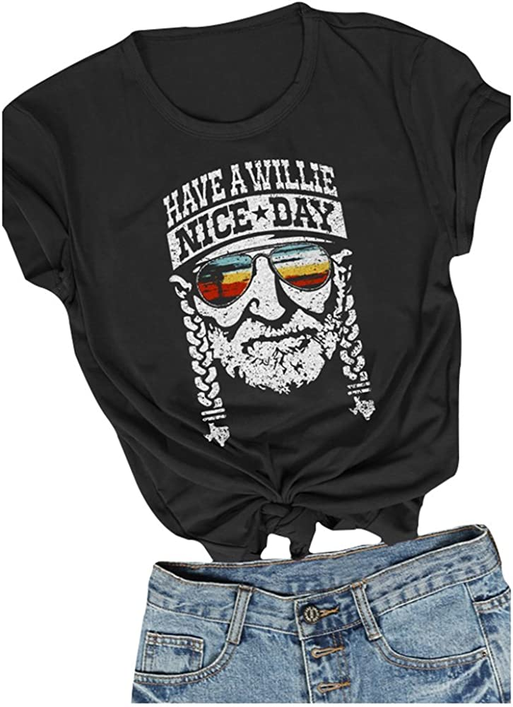 Women I Willie Love The USA & Have A Willie Nice Day Short Sleeve T-Shirts Tops