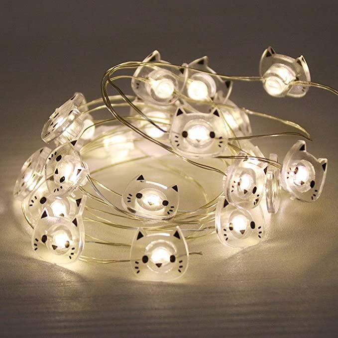 Guocheng Cat Accessories Led String Lights 2 2m Silver Wire Fairy String Lighting Warm White Starry Lights For Home Party Bedroom Home Decor Cat Amazon Co Uk Kitchen Home