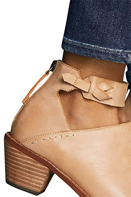 3626b0cac Amazon.com | LAICIGO Women's Ankle Booties Straps V Cut Stacked Block Heel  Pointed Toe Zipper Faux Leather Boots | Ankle & Bootie