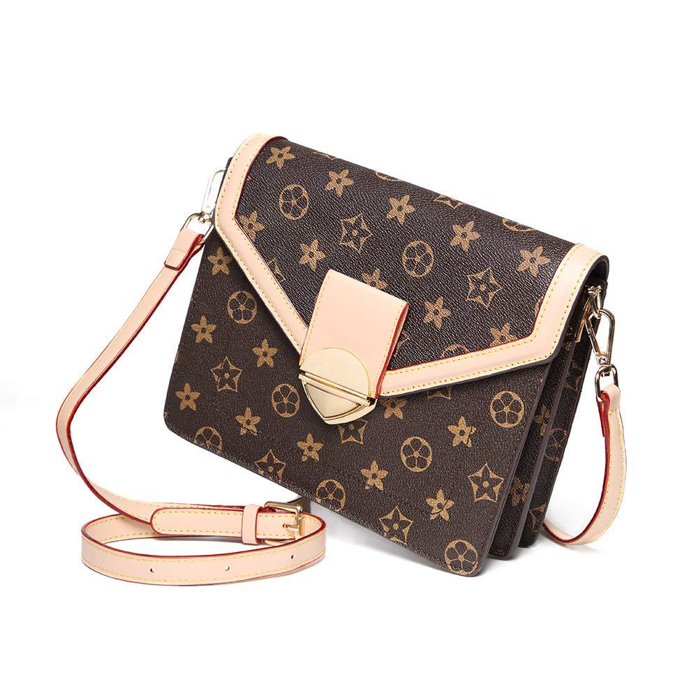 7eb0742c36 Crossbody bags for women teen girls leather fashion handbags purse and  classic medium shoulder bag beige