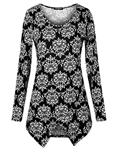Miagooo Knit Tops For Women Plus Size, Autumn Long Sleeve Flare and Fitted Tunic(Black,Medium)