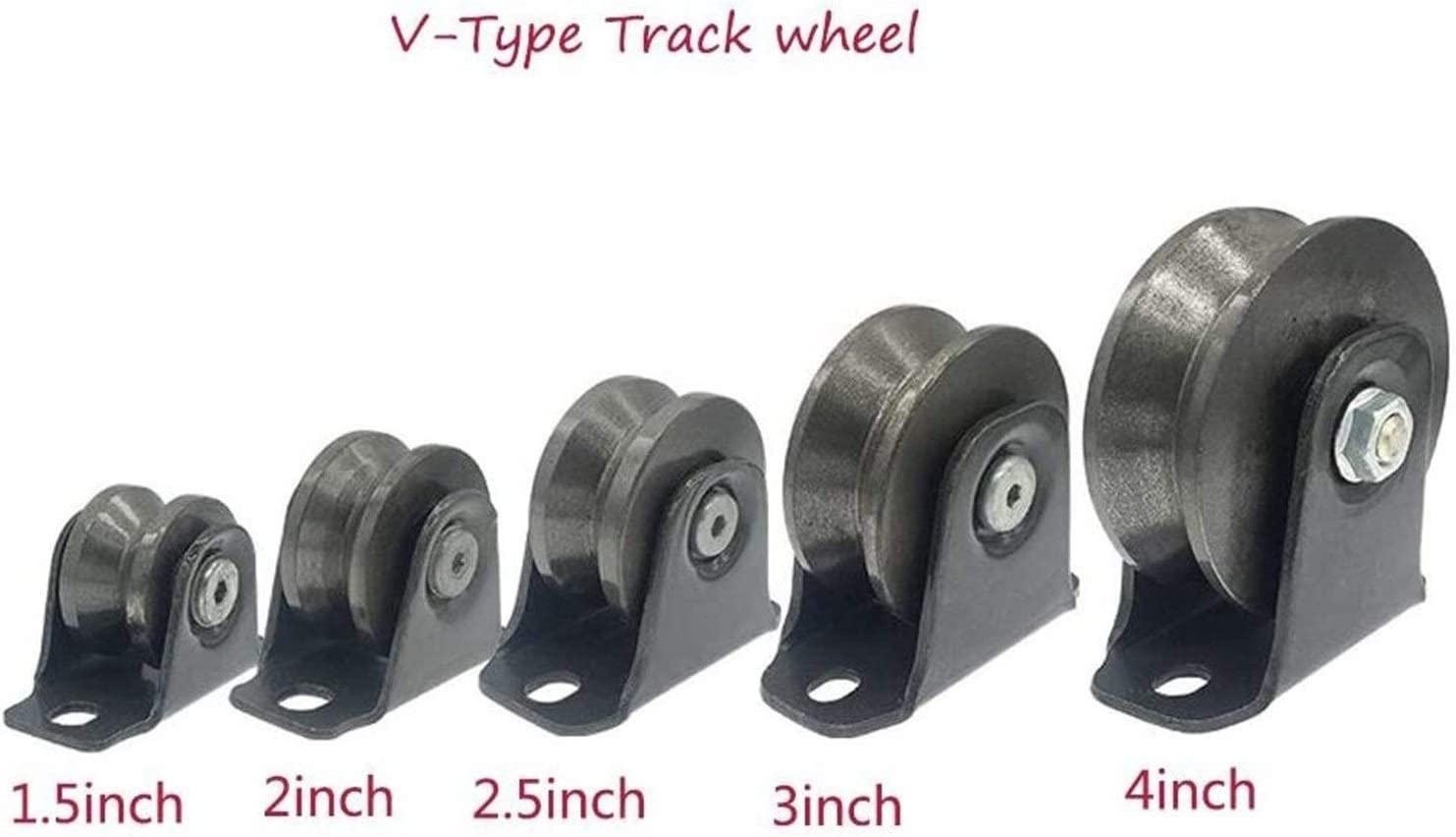Steel Heavy Duty Castors,V-Type Track Sheave Castors,Heavy Duty Cast Iron Castors,Orientation Castor Wheels,Thickened Bracket,for Angle Iron,Sliding Doors,Industrial Machinery,2pc,Load Bearing Is Stro
