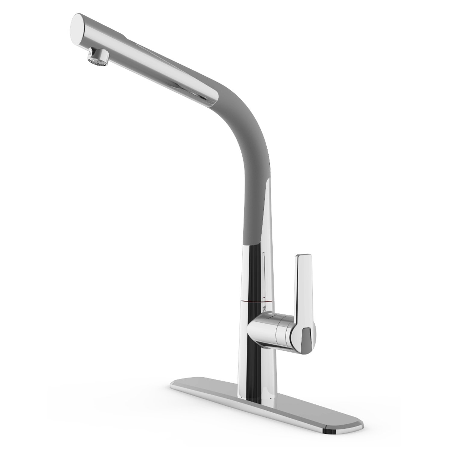 CLEANFLO 88808-70,Dancer Kitchen Faucet,1 or 3 Hole Installation, High 15.3 INCH-Arc Spout ,Flexible Spout 360 °, Patented Design,Inlet Nylon Braided Hose, Non Corrosive, Lead-Free, Chrome/Gray