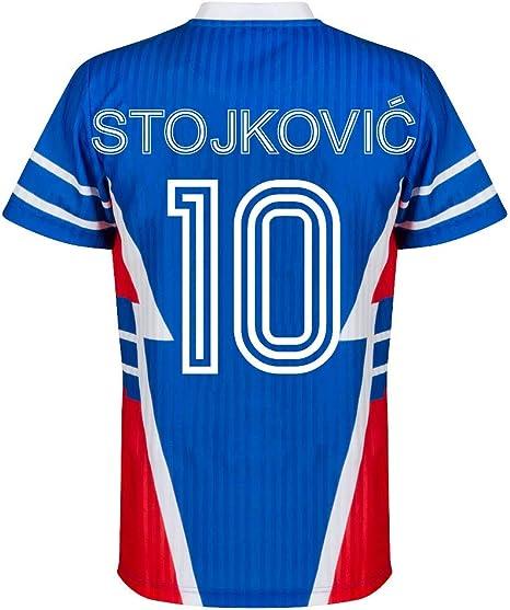 Copa 1990 - Camisa Retro de la República de Yugoslavia + Stojkovic 10 (Estilo Fan), Hombre, Azul, Medium: Amazon.es: Deportes y aire libre