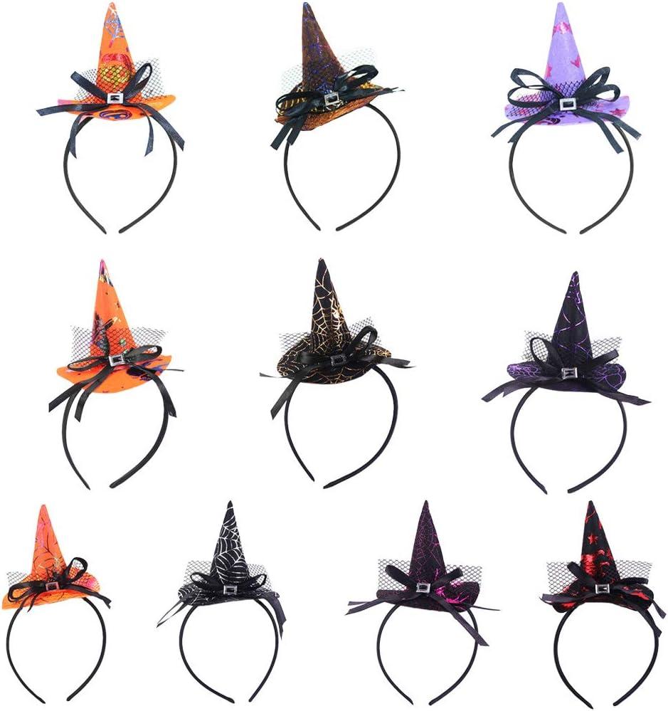 puntiagudo Beau Bowknot aro Cabello Party Cosplay, E# ecmqs diadema de Halloween Mini sombrero de bruja