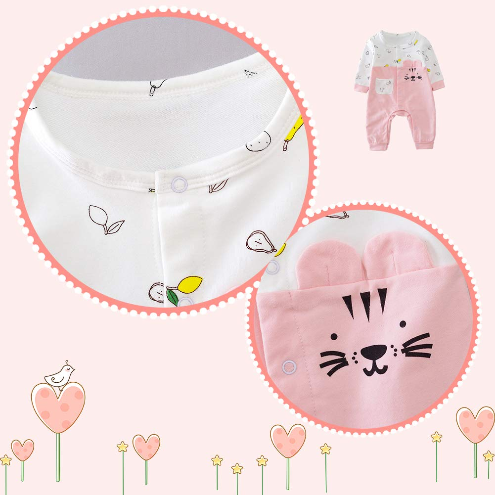 Newborn Onesie Baby Girl Collar Bodysuit Coverall Romper Long Sleeve Cotton Infants Jumpsuit