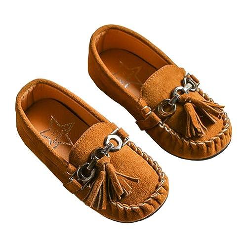 25189057776 LINKEY Toddler Boys Grirls Suede Tassel Slip On Penny Loafers Flat Doug Shoes  Moccasins Brown Size