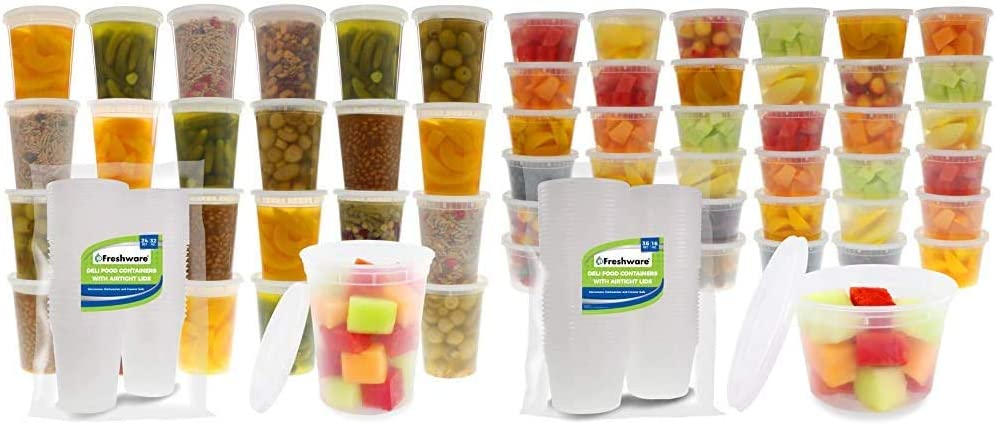 Freshware Food Storage Containers with Lids [24 Pack, 32oz] & Food Storage Containers with Lids [36 Pack, 16oz] - Plastic Containers, Deli, Slime, Soup, Meal Prep Containers | BPA Free