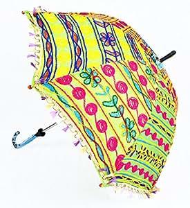 Mano Abierta Diseño bordado algodón sol Base Parosol paraguas 24x 28inch