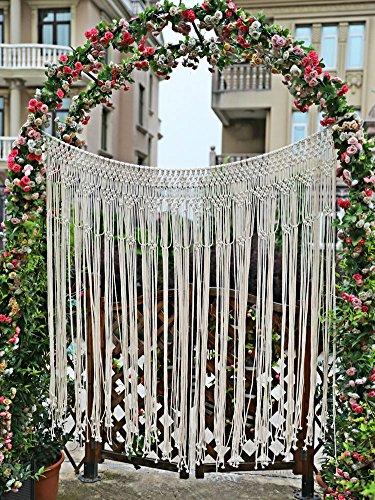 "Pantaknot Large Macrame Boho Decor Wall Hanging Wedding Backdrop Arch Window Covering Headboard Curtain, 56""W x 50""L - Macrame Curtain"
