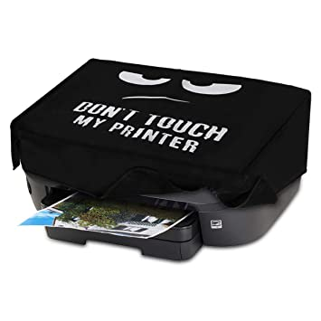 kwmobile Funda para HP Envy Photo 6230/7130 - Cubierta de Impresora en Blanco/Negro y con diseño Dont Touch my Printer