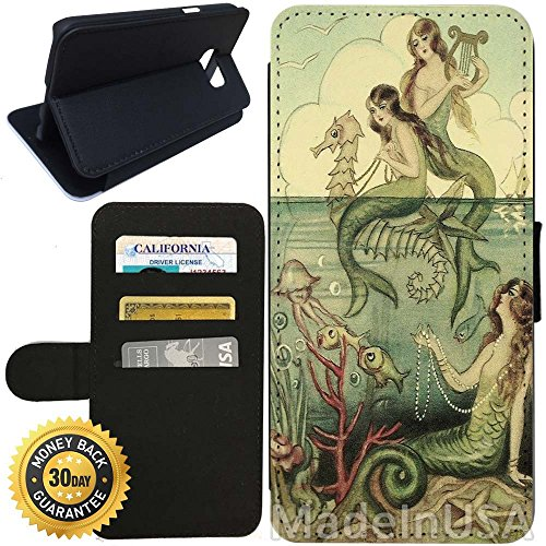 - Flip Wallet Case for Galaxy S7 (Vintage Mermaid Seahorse Illustration) with Adjustable Stand and 3 Card Holders | Shock Protection | Lightweight | Includes Stylus Pen by Innosub