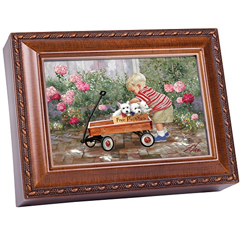 Cottage Garden Free Puppies Boy with Wood Wagon Woodgrain Rope Trim Jewelry Music Box Plays You are My Sunshine (Puppy Musical Jewelry Box)