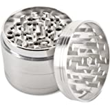 Spice Herb Grinder Aluminum Manual Handheld 2.5 Inch 63mm Diameter 4 Pieces Muller Tobacco Weed Kitchen Crusher Tool with Mesh Screen Pollen Scraper Silver