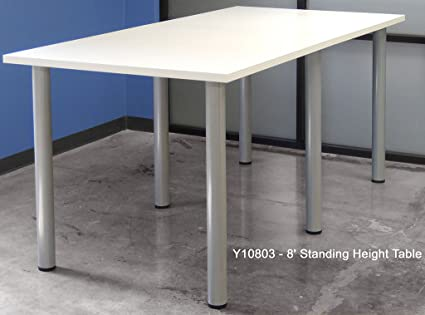 Amazoncom Standing Height Conference Tables Length White - White laminate conference table