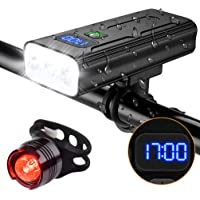 USB Rechargeable Bike Light Set Super Bright with Free Tail Light, LED 1200 Lumens Smart Digital Display & IPX5…