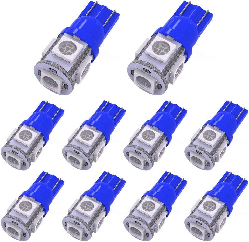 YITAMOTOR 194 T10 LED Bulb Blue, 168 2825 w5w LED Interior Car Lights Bulbs for Dash Light License Plate Lights Door Courtesy Light, 12 Volt, 10-Pack