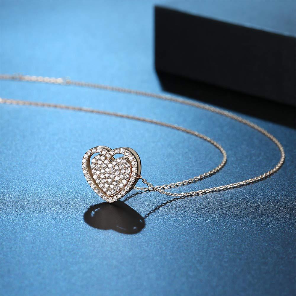 MetJakt 925 Sterling Silber Drei Farben Doppel Hohl Herz Charme f/ür Frauen Anh/änger Halsketten Schmuck Zubeh/ör