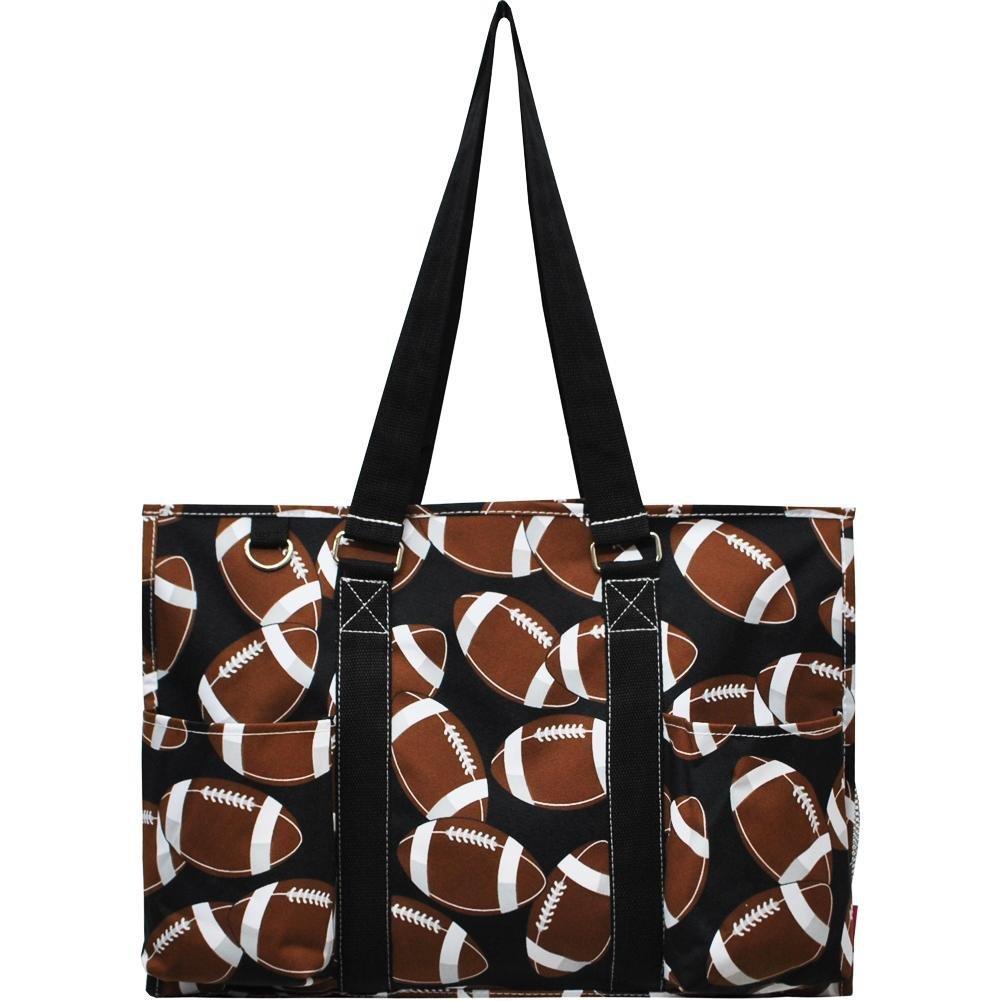 N. Gil All Purpose Organizer 18'' Large Utility Tote Bag (Football Black)