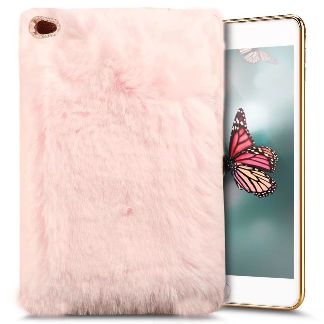For iPad Air 2 Plush Case, QKKE Cute Luxury Winter Soft Warm Faux Rabbit Fur Fuzzy Plush with Crystal Cute Bowknot Protective Back Cover for iPad Air 2 (Light Pink)