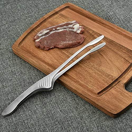 304 en Acier Inoxydable Barbecue Japonais Pince à Barbecue Pince de commodité Alimentaire intégré Formant Lisse Facile à Nettoyer (Argent) FRjasnyfall