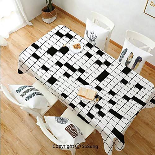 Word Search Puzzle Rectangle Polyester Tablecloth,Classical Crossword Puzzle with Black and White Boxes and Numbers Decorative,Dining Room Kitchen Rectangle Table Cover,60W X 102L inches,Black and Whi]()
