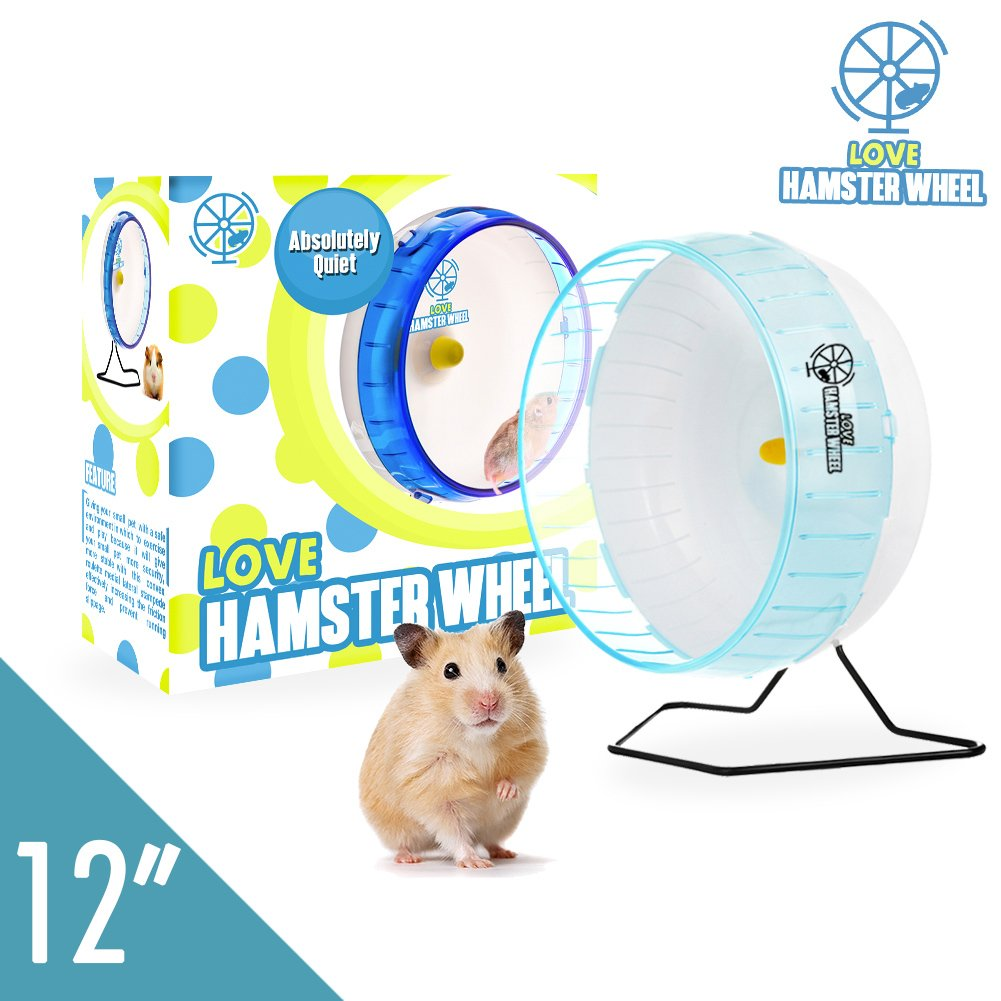 """Syrian Hamster Wheel 12"""" Pet Comfort Silent Exercise Wheel and Easy Attach to Wire Cage for Hamsters Gerbils Hedgehogs Mice and Other Small Animals Under 5 Oz Weight - Premium PP Material"""