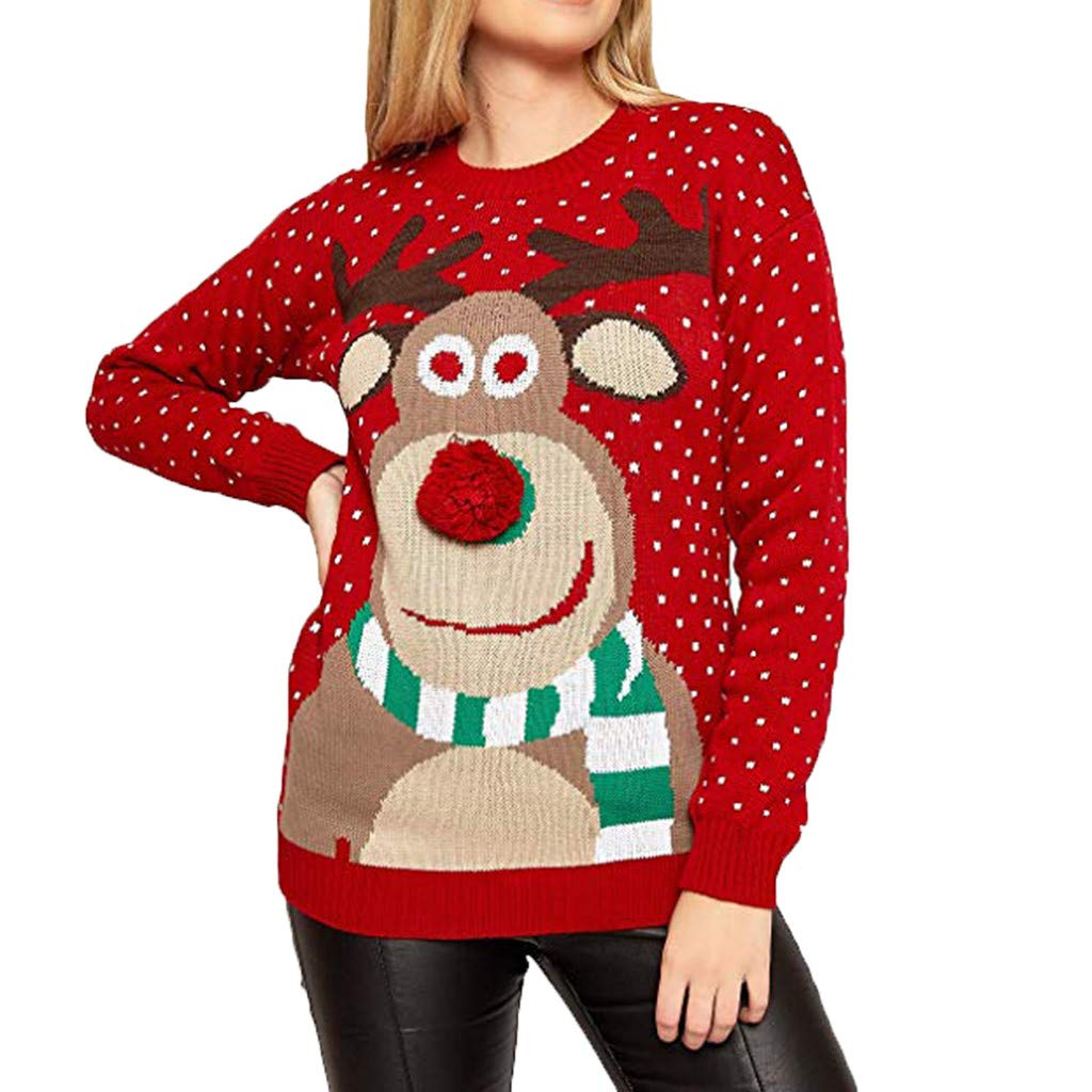 Ugly Christmas Women Sweater Teens Pullover Christmas Print Hoodie Jumper Hoodied Coat