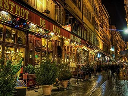 Christmas Paris France.Amazon Com Tollyee Christmas In Paris France Art Print On