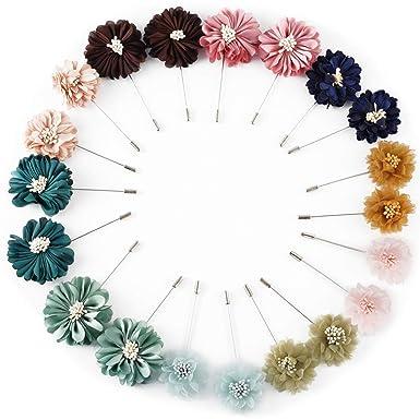 Amazon.com: 20 broches de flor para hombre con solapa, hecho ...