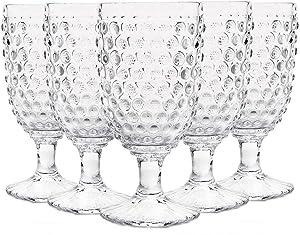 Hobnail Old Fashioned Iced Beverage Goblet 13 oz. set of 6, Premiun Glass Set for Wine, Soda & Juice, Perfect for Dinner Parties, Bars & Restaurants