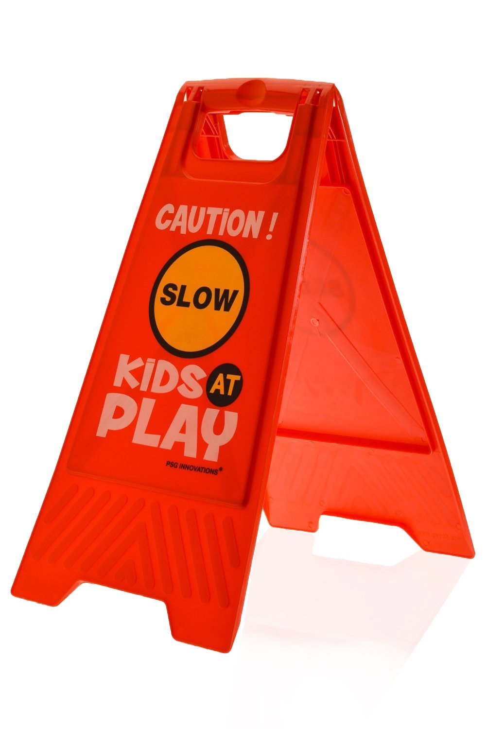 Kids Playing Safety Floor Sign for Yards and Driveways (Double-Sided, Red) - ''Caution, Slow, Kids at Play''