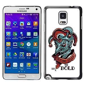 PC/Aluminum Funda Carcasa protectora para Samsung Galaxy Note 4 SM-N910 Fortune Favors The Bold - Evil Joker / JUSTGO PHONE PROTECTOR