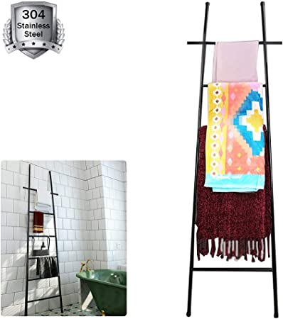 M-TOP Escalera Decorativa de Acero Inoxidable, Escalera para Toallas, pie Negro, toallero Independiente 6 Barras, estantería de Escalera Vintage pequeño Perchero Estable de Metal: Amazon.es: Hogar