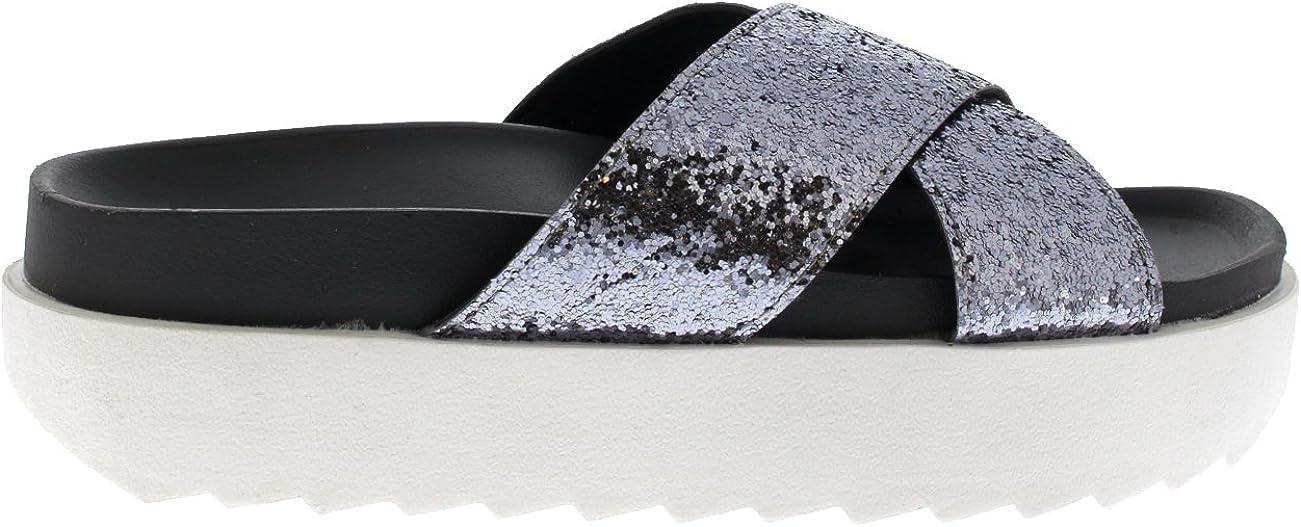 Donna Piattaforma Luccichio Strap Scivolare su Estate Moda Sandaloi Scarpe