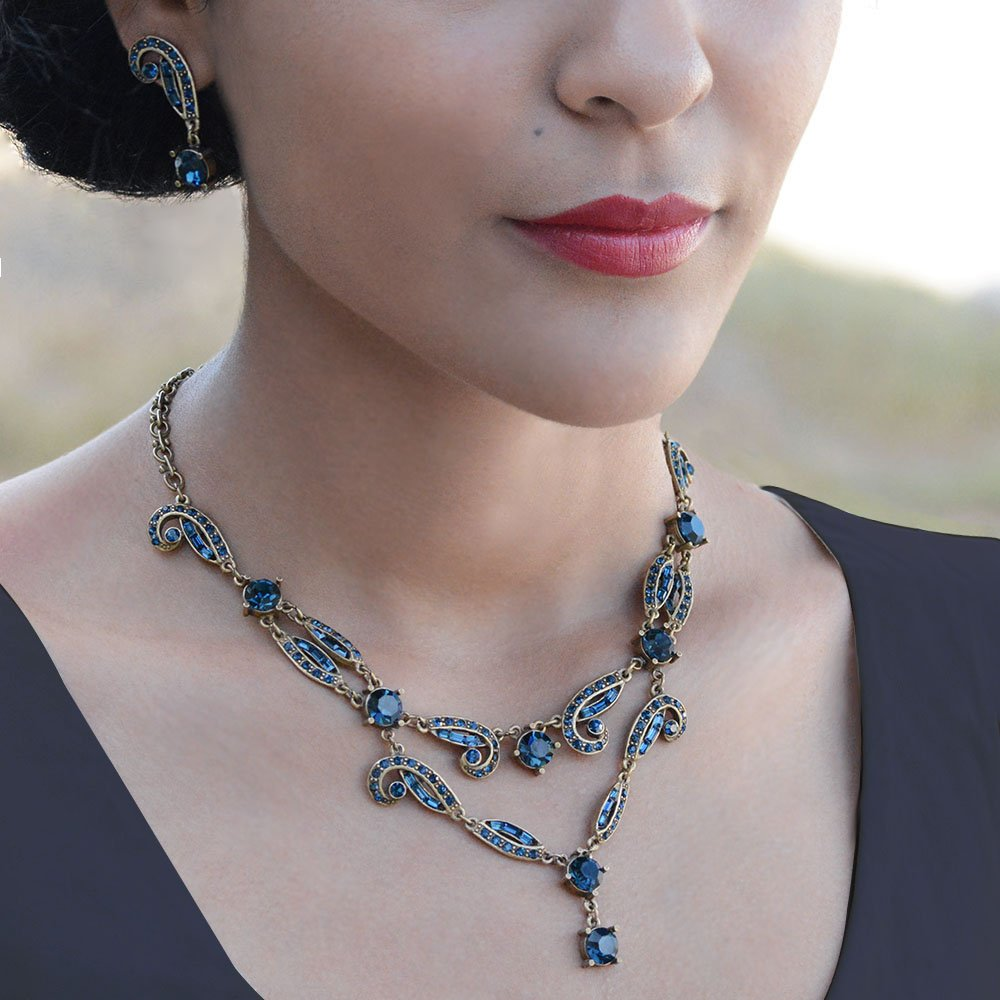 Vintage Style Jewelry, Retro Jewelry Sweet Romance Art Deco Vintage Hollywood Crystal Necklace N1102 (Blue) $97.00 AT vintagedancer.com