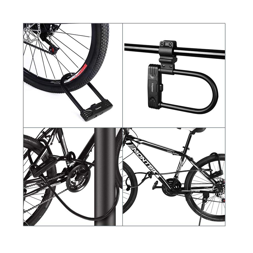 Titanker U Lock Bike Lock Heavy Duty Combination Bike U Shackle Secure Locks Bike Locks Anti Theft(16mm U Lock)