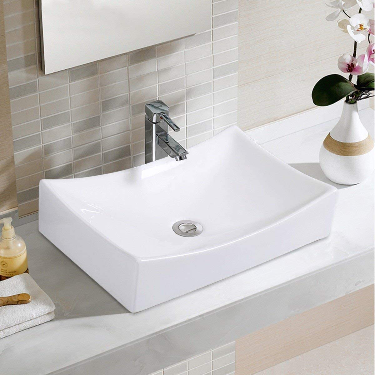 Giantex Bathroom Rhombus Ceramic Vessel Sink Vanity Pop Up Drain Modern Art Basin