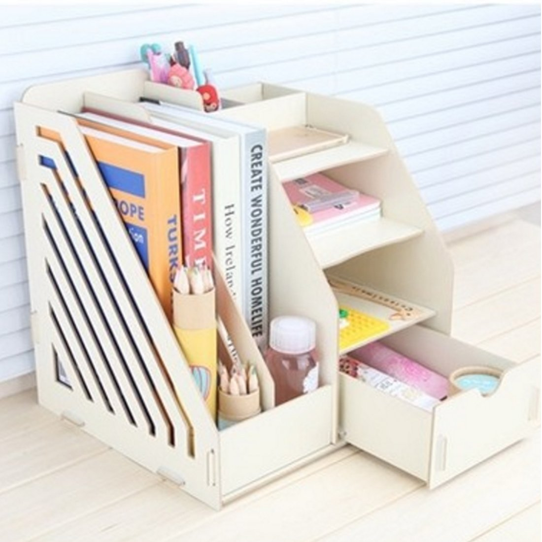 PeleusTech® Office Wood Desk Organizer with Drawer Expandable Mail Sorter Desktop Stationary Organizer - by PeleusTech® (Image #1)