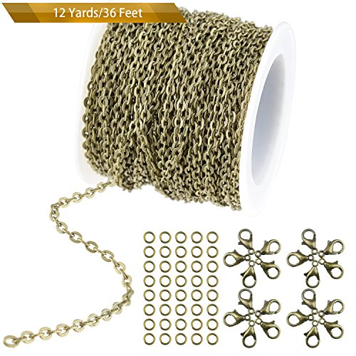 WXJ13 36 Feet/12 Yards Bronze Color Plated Round Cable Link Chain Necklace with 20 Lobster Clasps and 30 Jump Rings for Necklace Jewelry Accessories DIY Making, 2.5 mm Wide (Bronze Chain)