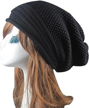 "Fleece-Lined Beanie Hat Skull Cap Winter Warm Adult Knit Cap 8/"" BLACK OSFA"