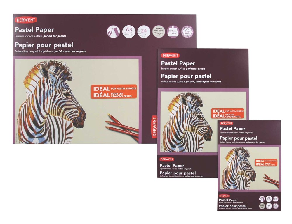 Derwent Pastel Paper Pad 2302102 Gray 24 Sheets 5.83 x 8.27 Inches Page Size A5