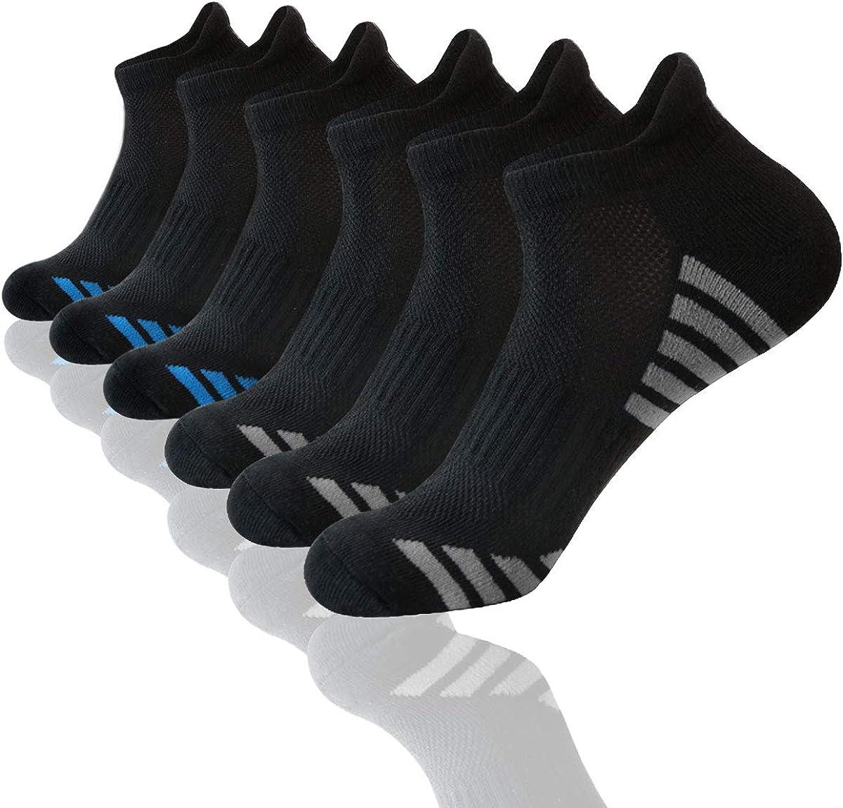 Shinno Mens Ankle Athletic Socks Low Cut Breathable Cushion Running Tab Socks 6 Pack