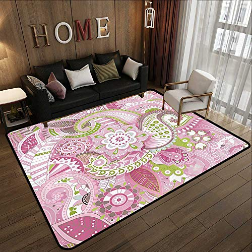 Small Rugs,Flower House Decor Collection,Decorative Lively Colorful Paisley Print with Floral Design Dots Swirls Stripes Leaves,Pin 47